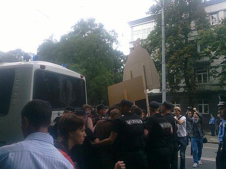Задержание участников акции протеста