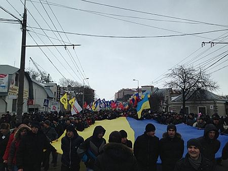 Прапор на марші у Тернополі