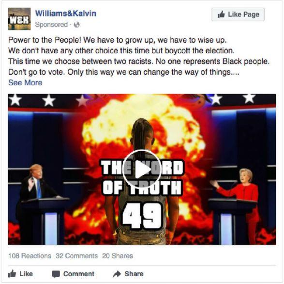 Одне із 3,5 тисяч проплачених оголошень, що закликає темношкірих американців бойкотувати вибори