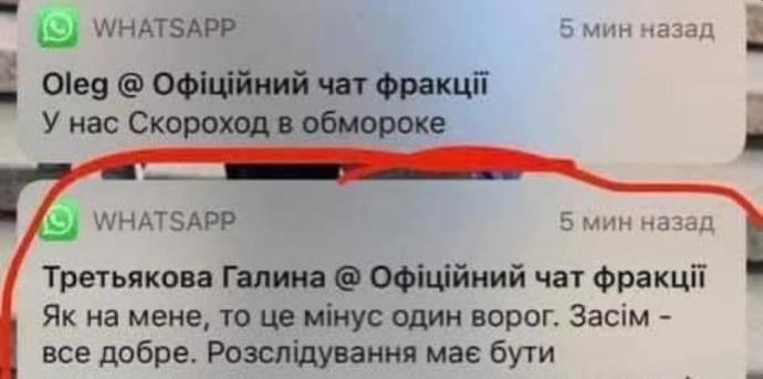 Позже Ирина Геращенко обнародовала скриншот со словами Галины Третьяковой из чата