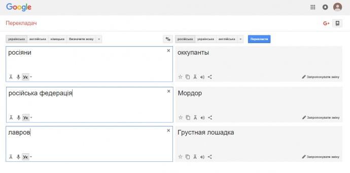 Так виглядали результати Google Translate в понеділок
