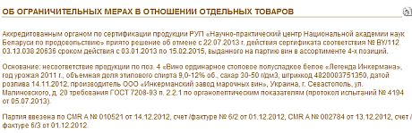 У Білорусі скасували дію сертифіката, виданого на партію вин Легенда Інкермана