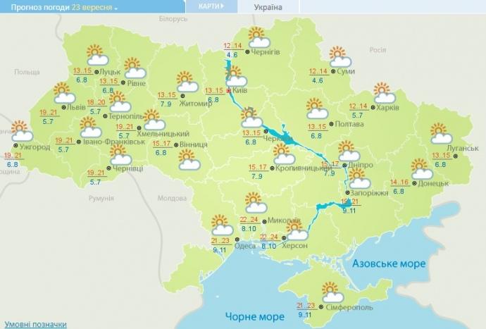 прогноз погоди на 23 вересня