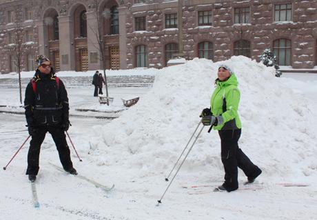 Лыжники на Крещатике.