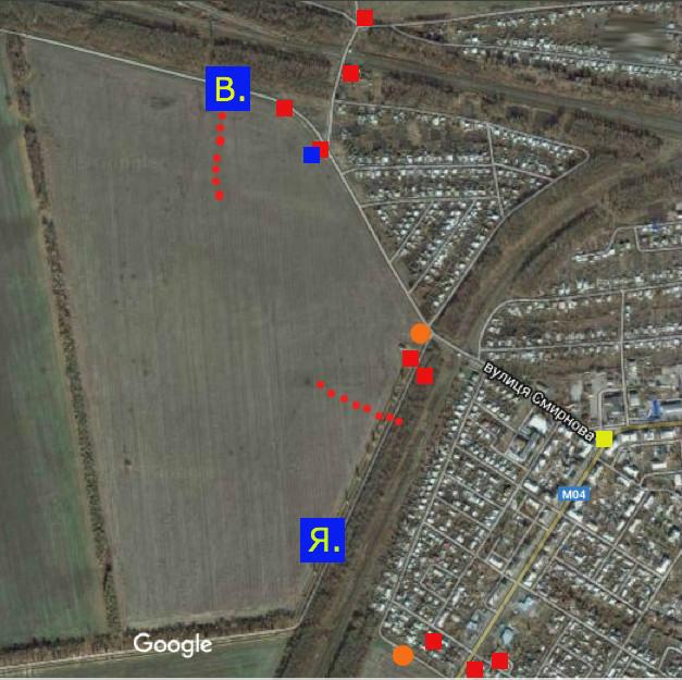 Синіми квадратами позначено розташування ворожої техніки, підбитої в ході бою на БП 1301 29.01.2015 р.