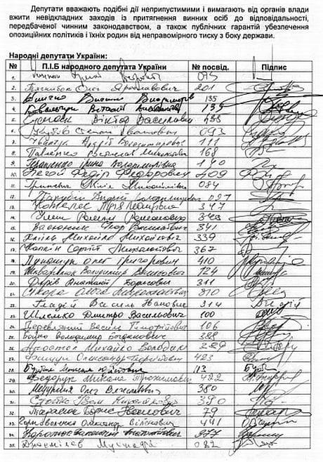 Під вимогою припинити переслідування опозиціонерів і їхніх родин підписалися Яценюк, Кличко, Тягнибок і ще понад 100 опозиціонерів