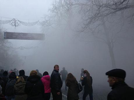 Беркут применил слезоточивый газ. Фото с Twitter Евромайдан @Dbnmjr