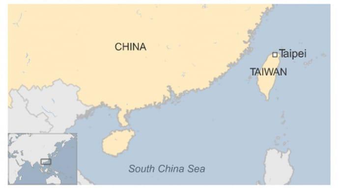 Тайвань та Китай на мапі