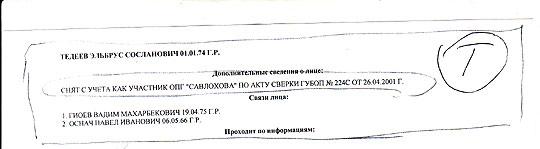 Довідка УБОЗ про зняття Тедеєва з обліку у 2001 році