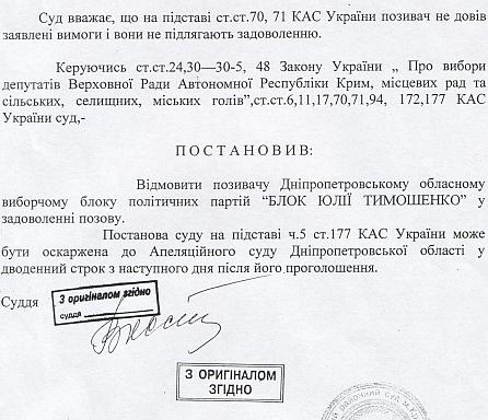 Рішення суду щодо депутатсва Балабат